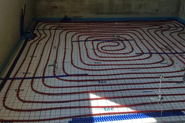 Unterbau für Fließestrich mit Fußbodenheizung